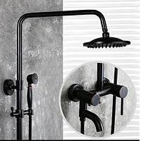 Душевая стойка черная для ванной со смесителем лейкой и тропическим душем 0621, фото 1