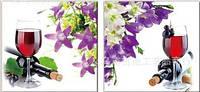 """Вышивка крестом диптих """"Бокал вина с цветами"""", фото 1"""