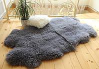 Коврик из натуральных овечьих шкур 4в1, серый цвет, размер 180х100