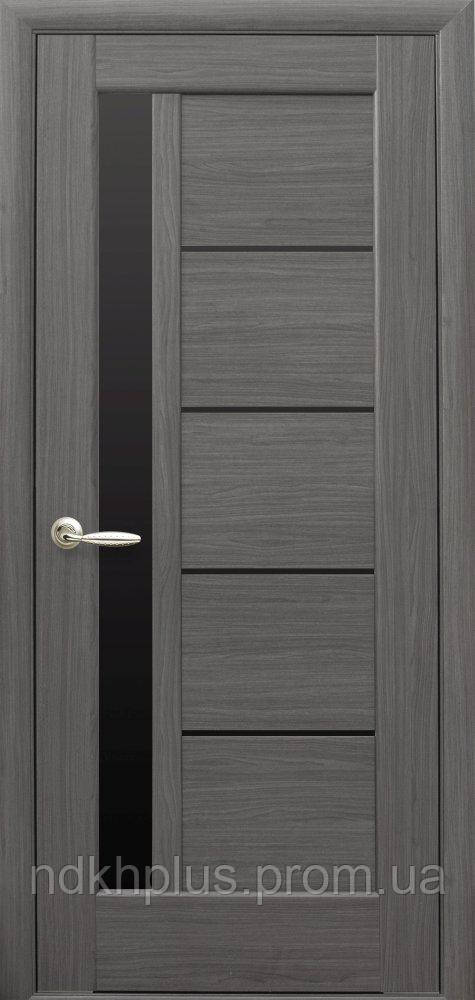 Двери межкомнатные Грета с черным стеклом