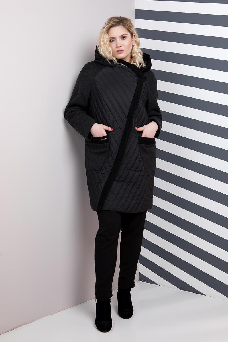 Черное Комбинированное Пальто Больших Размеров 48-66 — в Категории ... 817fa2778ccbb