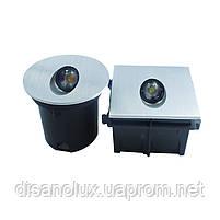 Светильник для подсветки ступеней  QSD- 1 LED 3W  3000K  80 мм x 80мм IP44  SILVER, фото 2