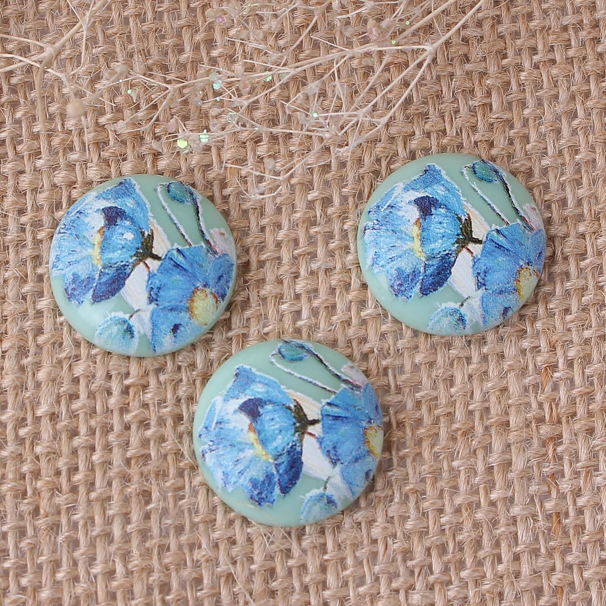 Кабошоны круглый, Японский светло-синий цветок, Линза, Смола, Газоплотный, 20 мм