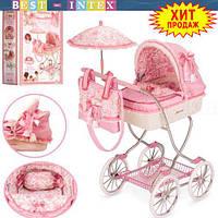 Коляска для куклы 80226 зонтик + сумка + подушка Классика Martina (80-45-90 см)