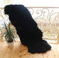 Коврик из натуральных овечьих шкур ДВОЙКА, черный цвет, размер 200*70