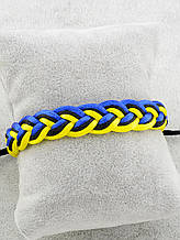 Браслет плетеный текстиль, цвет желтый, синий, черный \ Sb - 0169