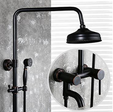 Душевая стойка черная для ванной со смесителем лейкой и тропическим душем 0622