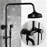 Душевая стойка черная для ванной со смесителем лейкой и тропическим душем 0622, фото 1