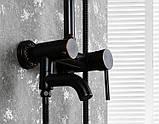 Душевая стойка черная для ванной со смесителем лейкой и тропическим душем 0622, фото 2