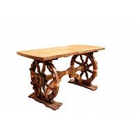 """Стол """"Шервуд"""" с колесом колесницы из натурального дерева. Производство мебели из массива для кафе"""