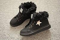 Женские ботинки мех осень зима Akuba Curly Black 36 - 40