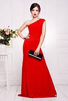 Платье вечернее ЮНА КРАСНОЕ прилегающего силуэта гипюр 42, 44, 46, 48, 50р на одно плечо