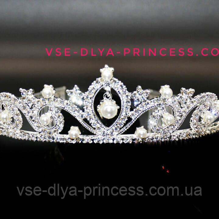 Корона, діадема, тіара під срібло з перлами, висота 4 див.