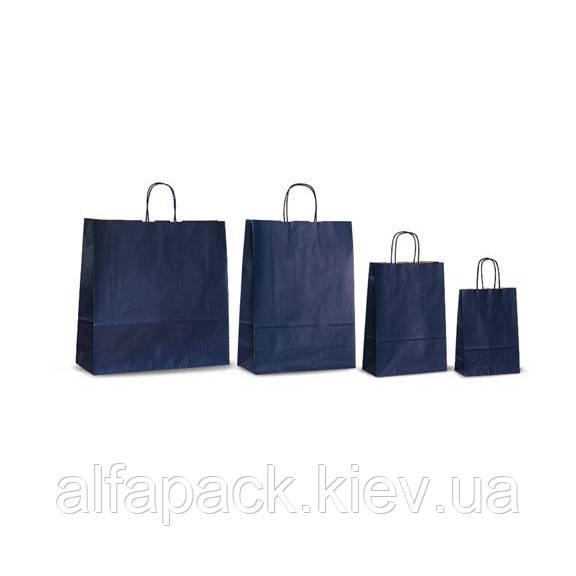 Пакет бумажный с кручеными ручками темно-синий 200х80х240 мм