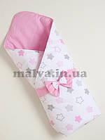 """Конверт-одеяло на выписку Осень-Весна  """"Пряничные  звезды"""" Розовый, фото 1"""