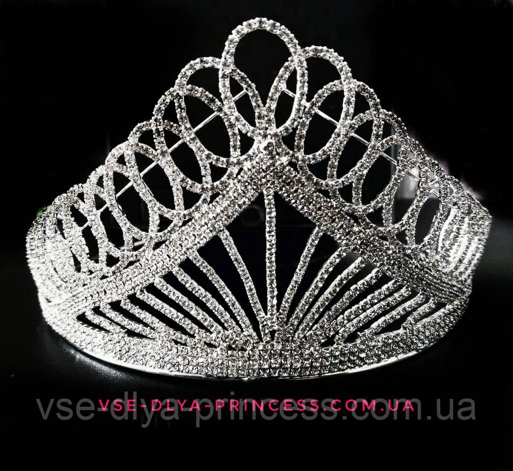 Высокая корона, диадема, тиара в серебре для конкурса, высота 8,5 см.