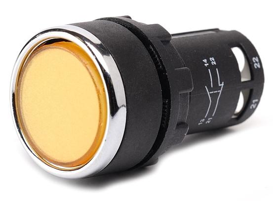 Кнопка нажимная круглая D22 (мм) моноблок жёлтая (1НО+1НЗ)
