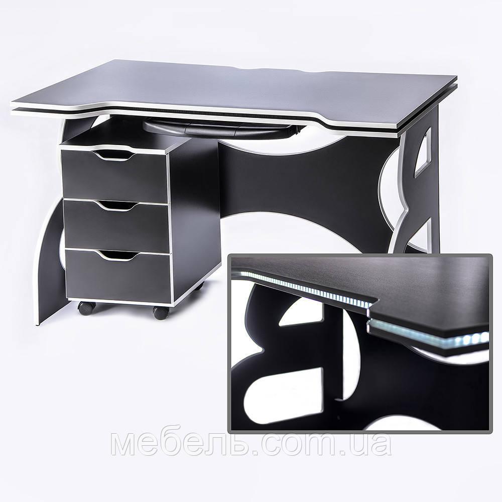 Стол для учебных заведений с тумбой Barsky Game WHITE LED  HG-06/CUP-06/ПК-01