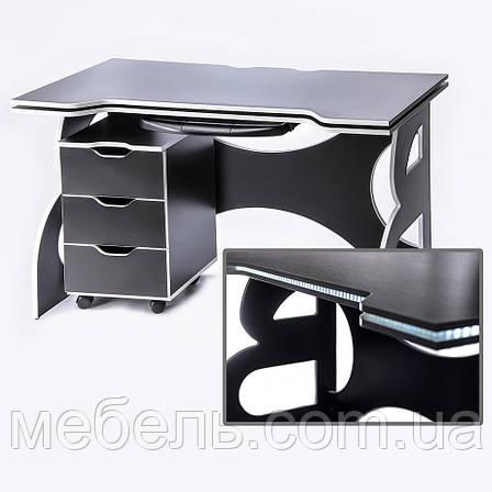 Стол для учебных заведений с тумбой Barsky Game WHITE LED  HG-06/CUP-06/ПК-01, фото 2