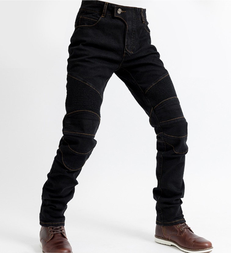 Черные мото джинсы в комплекте с защитой съемной коленей и бёдер  KOMINE RJP-Slim Pk-718