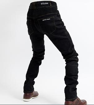 Черные мото джинсы в комплекте с защитой съемной коленей и бёдер  KOMINE RJP-Slim Pk-718, фото 2