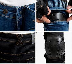 Черные мото джинсы в комплекте с защитой съемной коленей и бёдер  KOMINE RJP-Slim Pk-718, фото 3