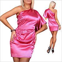 Розовое платье с ассиметричным верхом