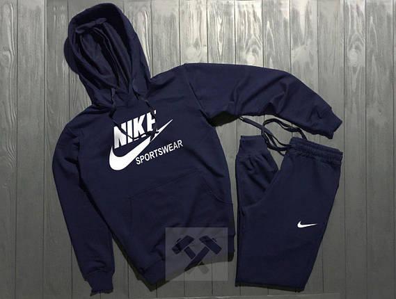 Спортивный костюм Nike Sportswear темно-синий топ реплика, фото 2