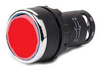 Кнопка нажимная круглая D22 (мм) моноблок красная (1НО+1НЗ)