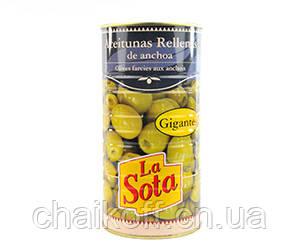 Оливки зеленые фаршированные анчоусом La Sota 350 г (Испания)