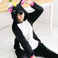 Кигуруми Единорог черный  (детский и взрослый) Kigurumi, фото 1