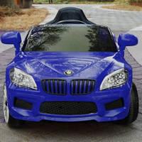 Детский электромобиль БМВ BMW синий (разные цвета). M 2773 EBLR-4. Колеса EVA, кожаное сидение, свет фар.