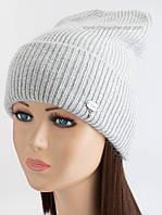 Теплая шапочка с отворотом Гермиона светло-серая