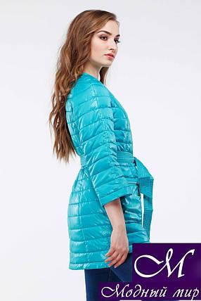 Женская бирюзовая осенняя куртка-плащ батал (р. 42-54) арт. Белла, фото 2