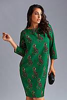 Очаровательное зеленое женское платье с  animal  принтом. Размеры : 50, 52, 54, 56, 58, 60, 62.