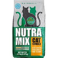 Nutra Mix hairball сухой корм для взрослых кошек  шерстевыводящий - 9,07 кг