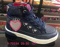 Детские синие демисезонные ботинки для девочек оптом Размеры 25-30