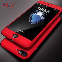 Чехол 360 градусов для Iphone 7/Iphone 8 + стекло,ультратонкий красный