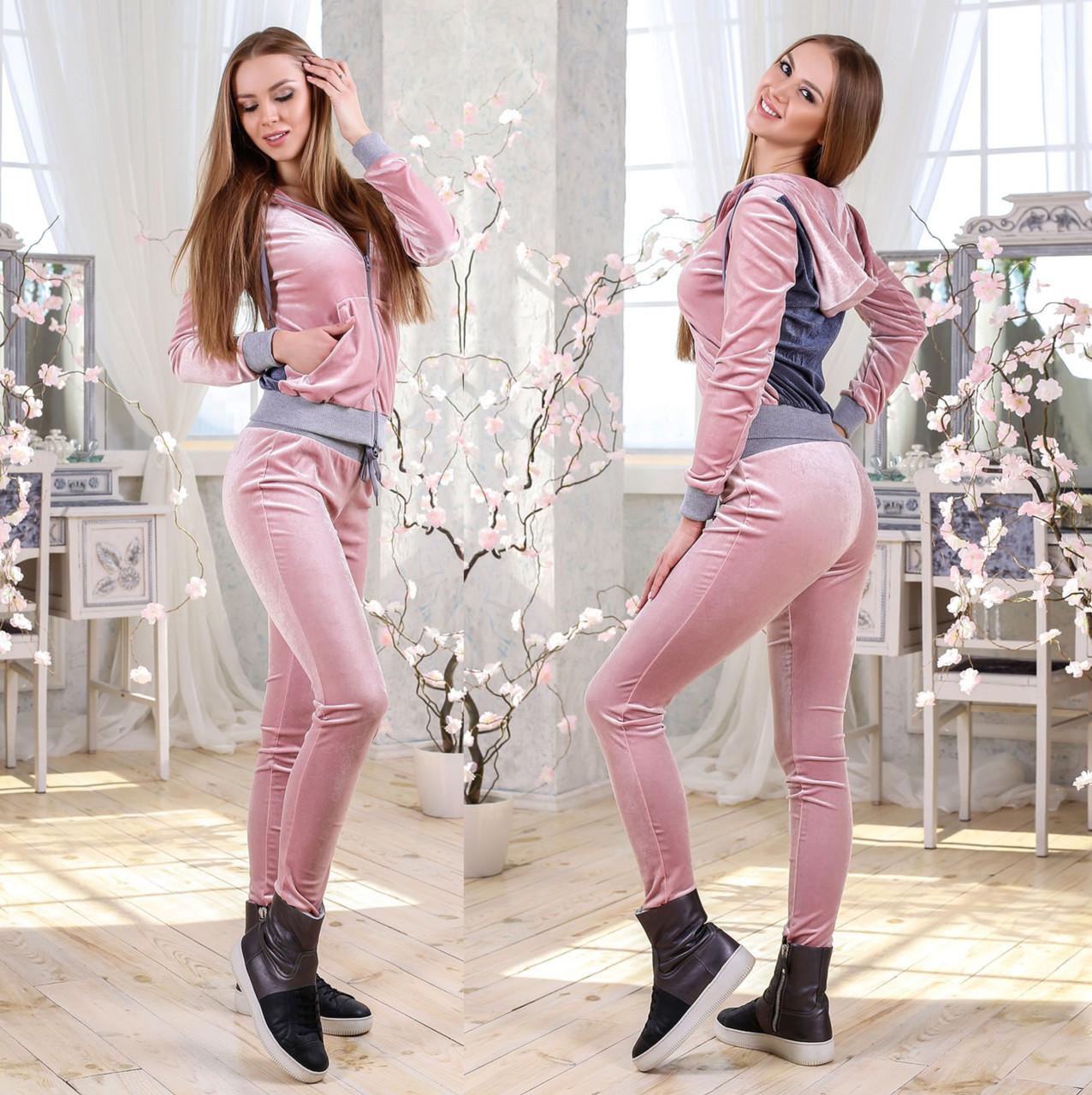 7b87ad76 Спортивный женский костюм из стрейчевого велюра F Розовый - Интернет-магазин  Леди-лайн в
