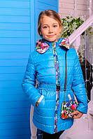 Куртка детская для девочки Цветы бирюза 122см демисезон сумочка в комплекте, съемный капюшон
