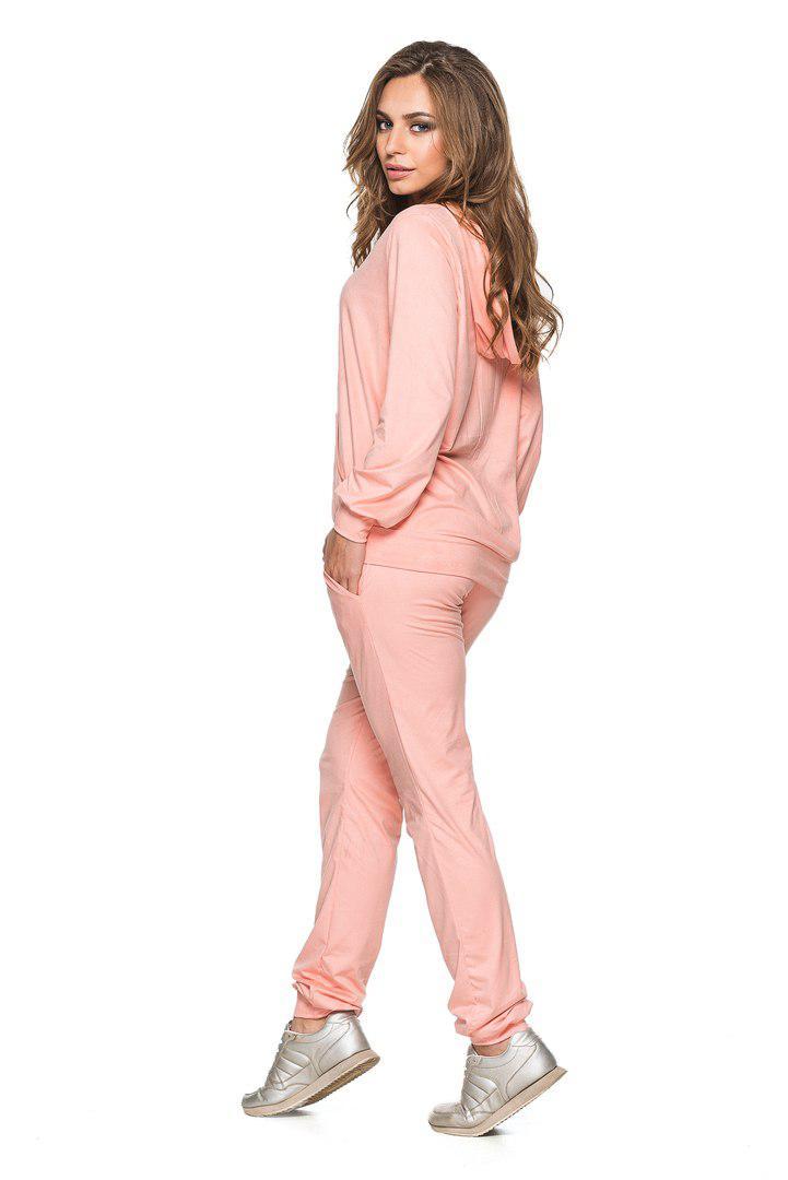 Женский стильный замшевый костюм-двойка брюки и кофта с капюшоном, фото 1