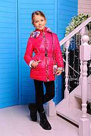 Куртка детская для девочки Цветы малина 122см демисезон сумочка в комплекте, съемный капюшон