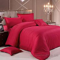 Комплект постельного белья в полоску страйп-сатин ЕВРО цвет Красный, фото 1