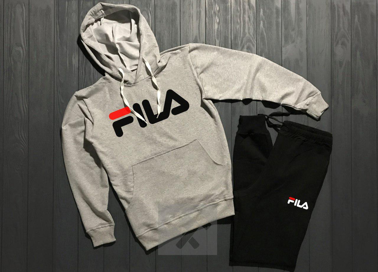 Спортивный костюм Fila серо-черный топ реплика