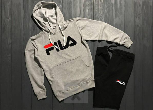 Спортивный костюм Fila серо-черный топ реплика, фото 2