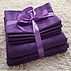 Фиолетовый Комплект постельного белья в полоску страйп-сатин ЕВРО Простынь на Резинке - Фото