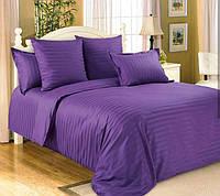 Фиолетовый Комплект постельного белья в полоску страйп-сатин ЕВРО Простынь на Резинке