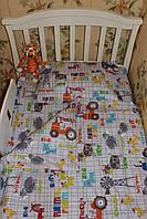 Комплект 2 простыни пододеяльник наволочка в детскую кроватку Премиум хлопок, фото 1