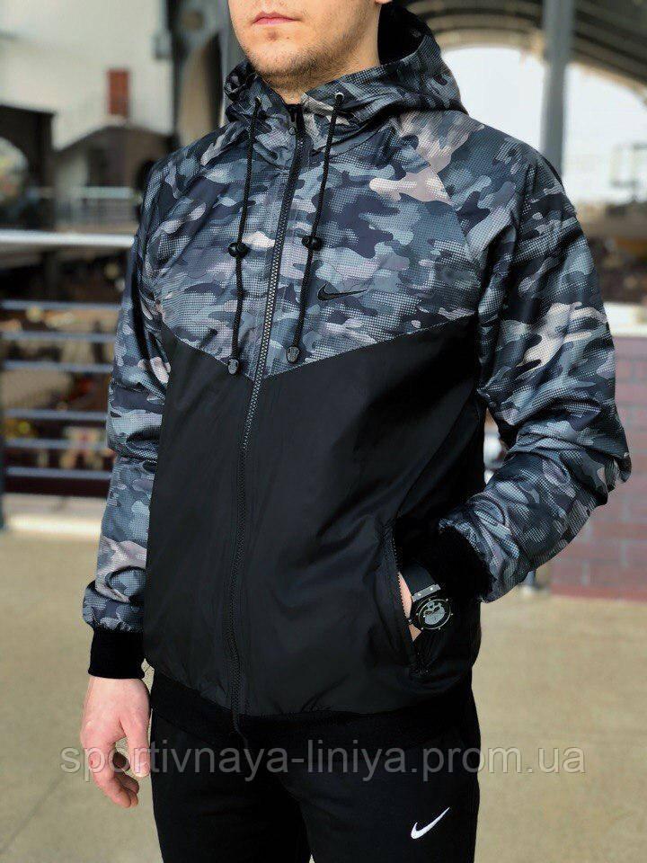 Мужская черная демисезонная куртка Nike  (виндранер) (реплика)