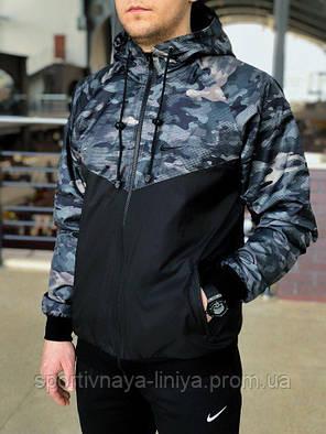 Мужская черная демисезонная куртка Nike  (виндранер) (реплика), фото 2